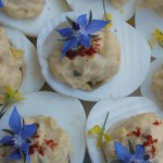borage on devilied egg.